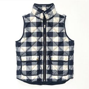 J. Crew Navy Buffalo Check Excursion Puffer Vest